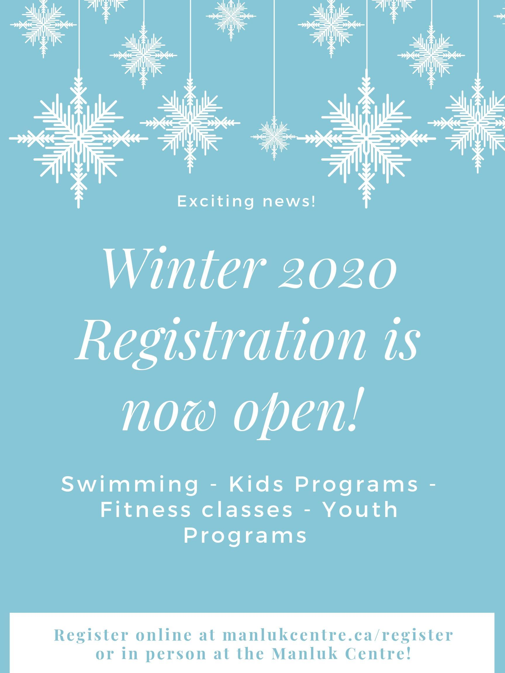 Winter 2020 Registration is now open!
