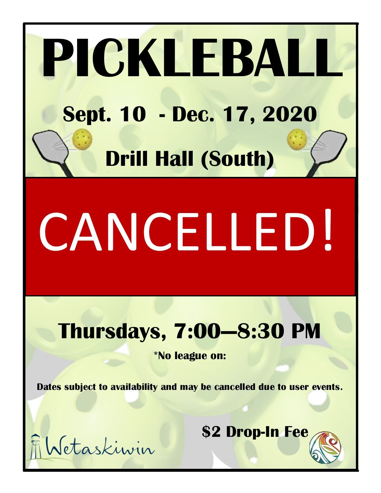 CANCELLED! Pickleball Fall 2020 Poster