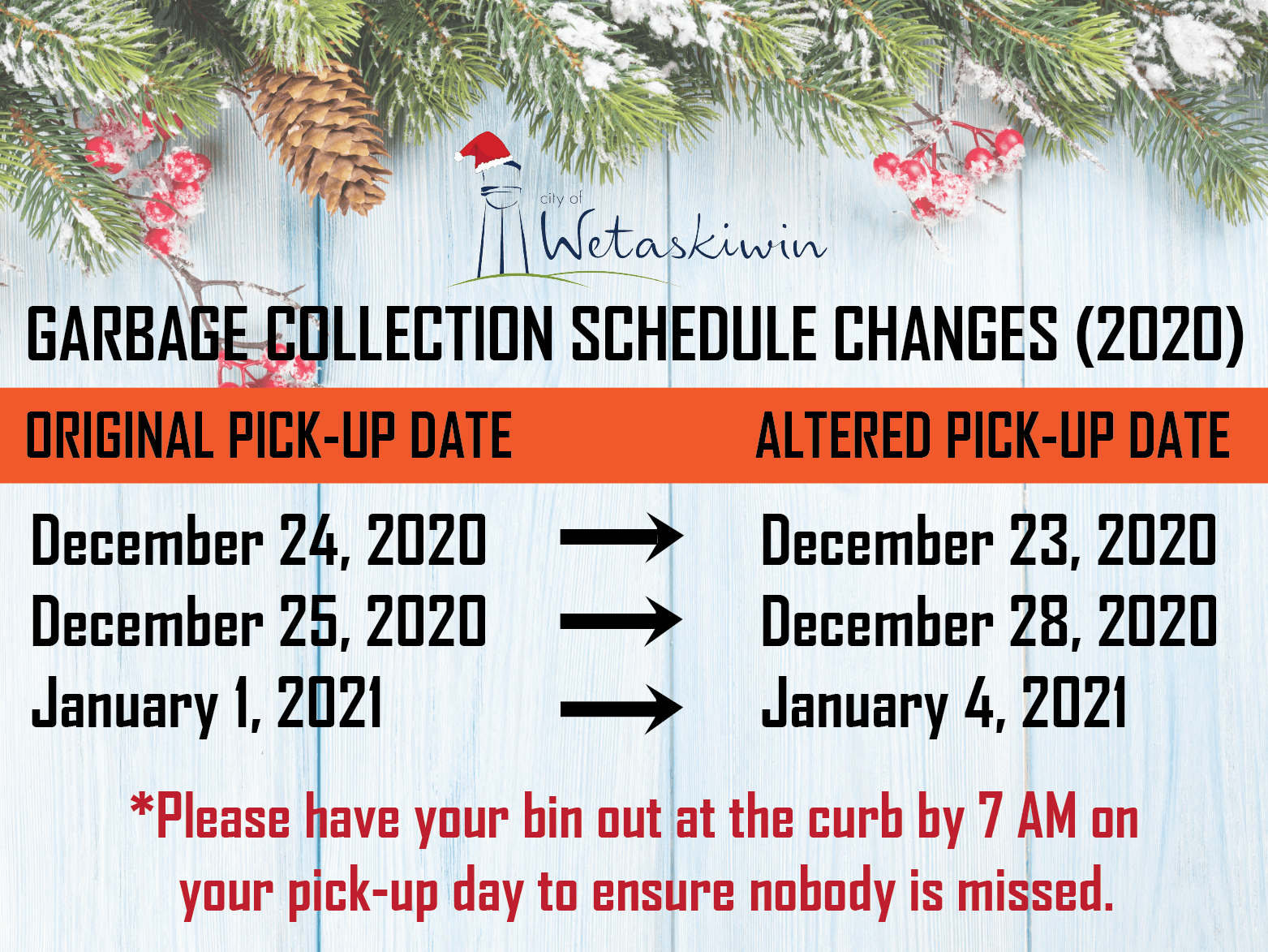 Christmas Garbage Collection Changes 2020-01