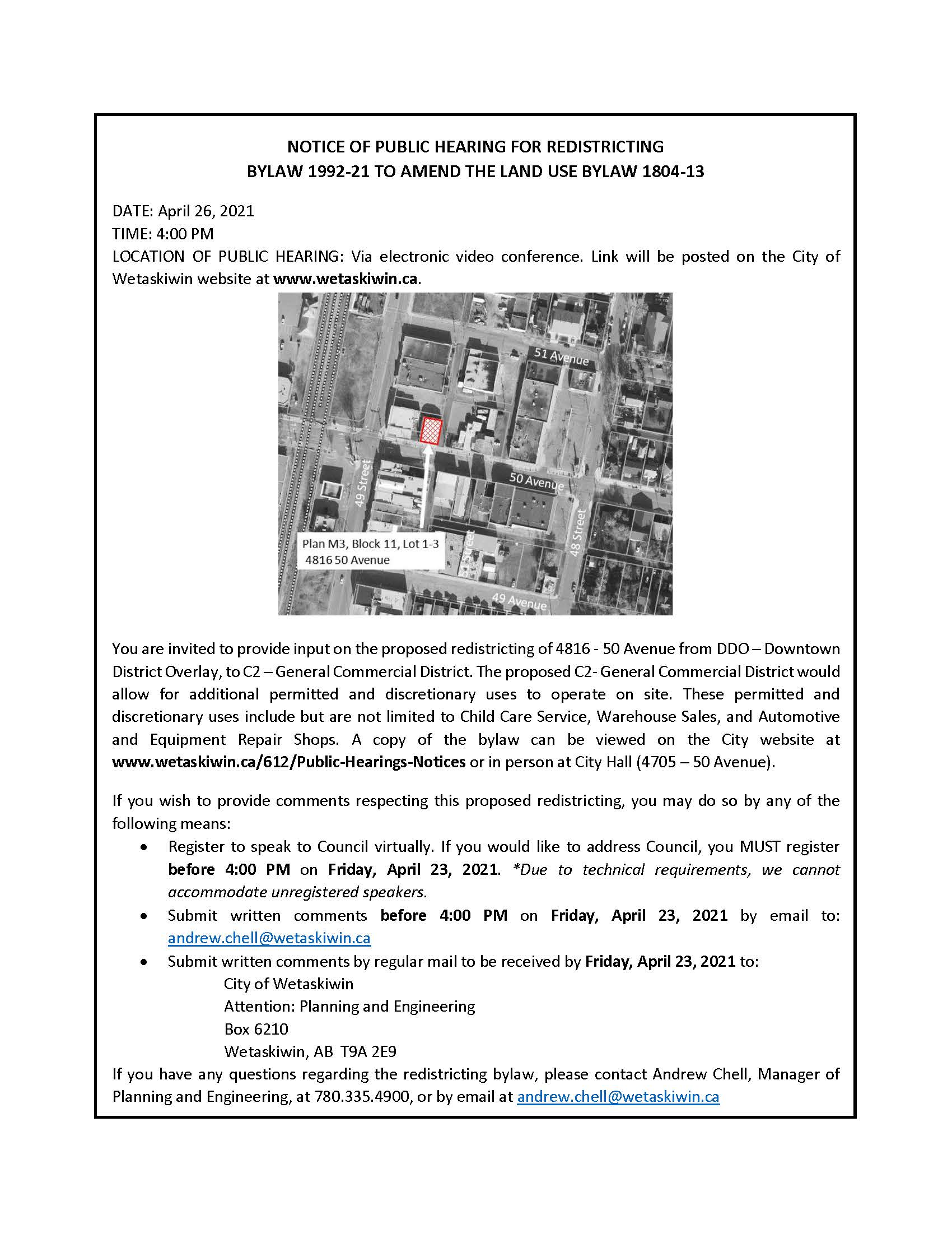 Public Hearing notice - 4816-50 Ave - Apr.26.2021