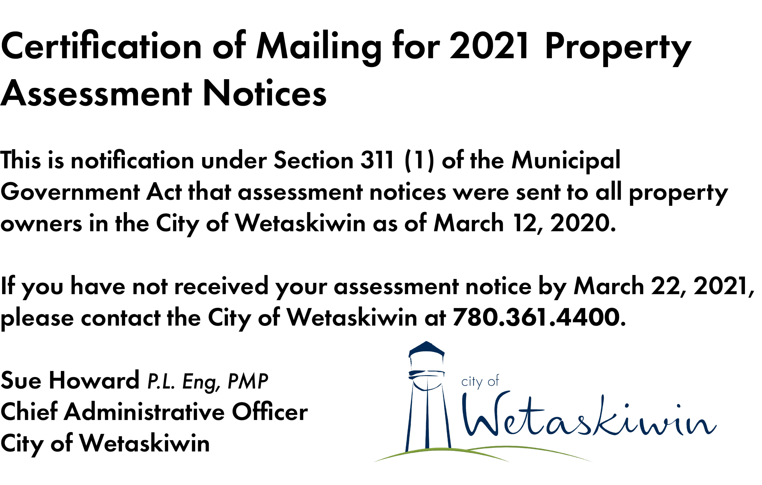 Certification of Mailing 2021